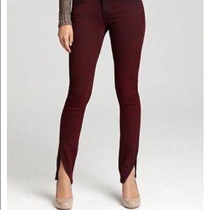 Rich & Skinny burgundy tulip hem skinny jeans